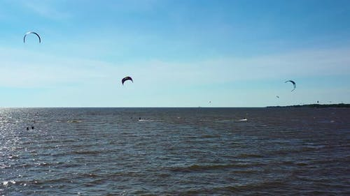 Aerial View. Kite Surfing On The Sea 2