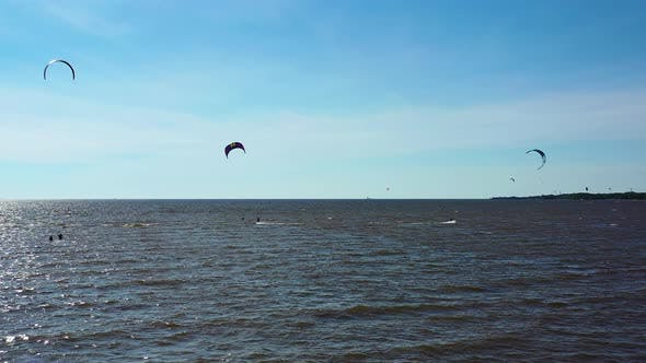 Thumbnail for Aerial View. Kite Surfing On The Sea 2