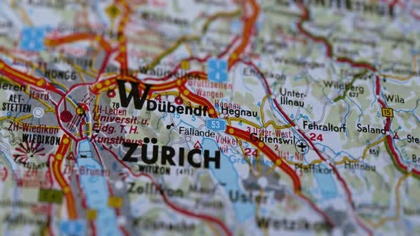 Thumbnail for City Zurich On Europe Map, Slider Shot