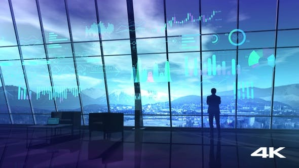 Thumbnail for A Male Figure Stands In An Office With Windows Over The Mountains HD