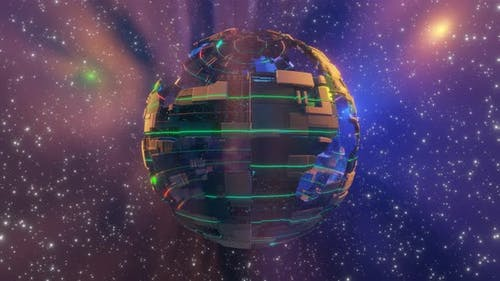 Illuminated Cyber Ball Rotates in Open Space Surrounded By Nebula
