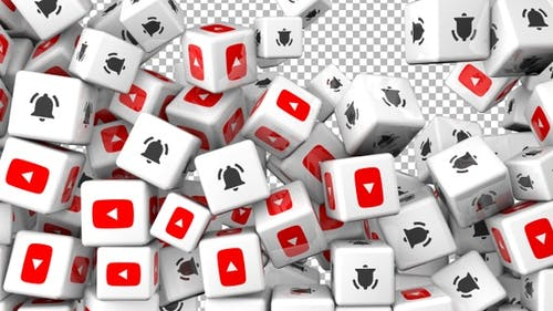Social Media Icons Transition - Youtube and Bell - Version 2