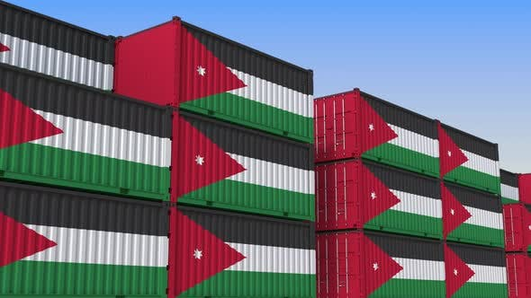 Thumbnail for Container Yard Full of Containers with Flag of Jordan