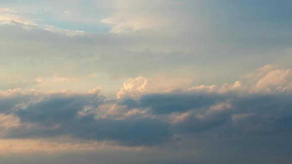 Thumbnail for Moving White and Yellow Clouds Shot in Time-lapse. Idyllic Cloudy Heaven Background. Timelapse of
