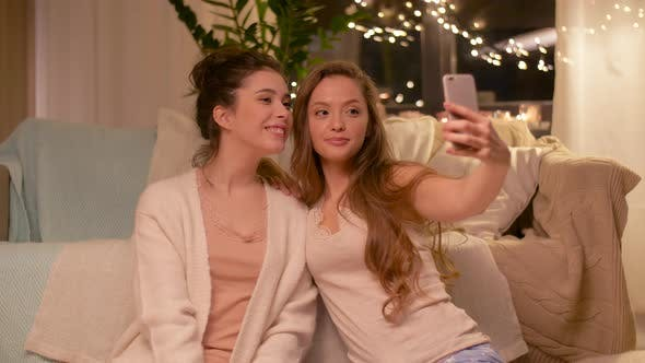 Thumbnail for Female Friends Taking Selfie By Smartphone at Home