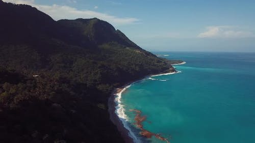 4k 30 Fps Dron Shoot Of Miuntains In The Caribbean Beach With Tropical Colors