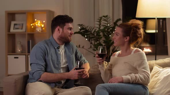 Thumbnail for Happy Couple Drinking Red Wine at Home in Evening 6