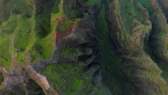 Thumbnail for Coastal Terrain of Hawaii. Topdown Aerial Footage. Rocky Ridges and Deep Gorges