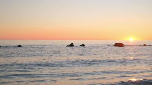 Time Laps Of Sunrise. Orange Golden Red Sky.