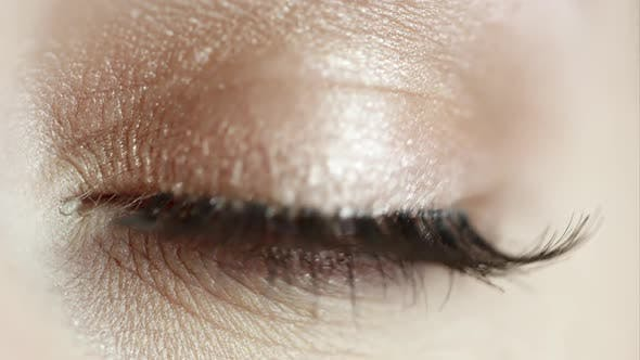 Up close view of woman's eye closed