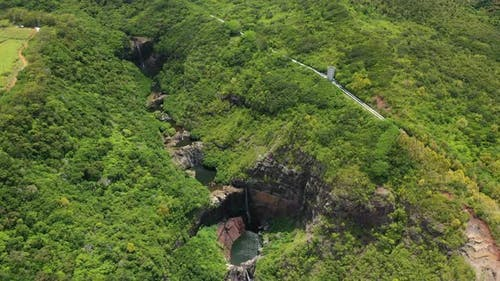 cascades of waterfalls Tamarin island of Mauritius,  Seven cascades of Tamarin waterfalls