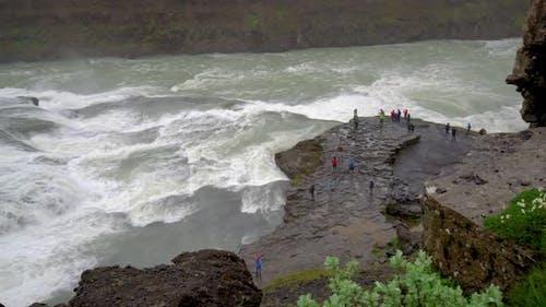 Landscape of Gullfoss Waterfall in Iceland