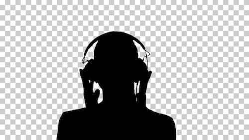 Silhouette  woman listening , Alpha Channel
