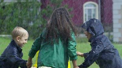 Kids Playing in Rain