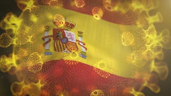 Thumbnail for Spain Flag With Corona Virus Bacteria Centered 4K