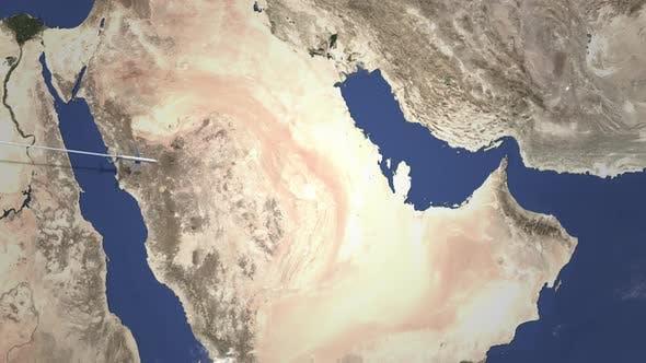Route eines Kommerziell Flugzeugs, das nach Doha Katar fliegt