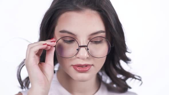 Thumbnail for Cute Girl With Glasses Looking Sexy