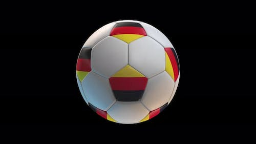 Soccer ball with flag Germany, on black background loop alpha