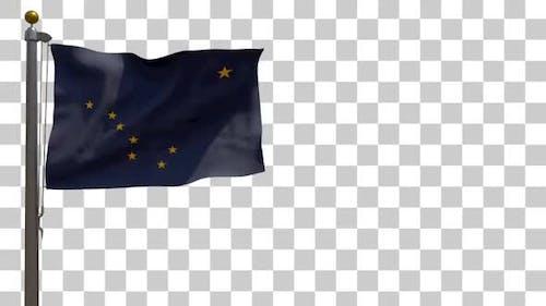 Alaska State Flag on Flagpole with Alpha Channel - 4K