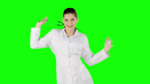 Thumbnail for Female Doctor Dancing with Stethoscope. Green Screen