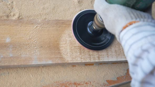 Thumbnail for Close Up of Woodworking Tool in Hand of Professional Worker. Unrecognizable Carpenter Working in His
