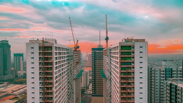 Thumbnail for Futuristic Landscape of Construction of Skyscrapers in the China at Sunset Time