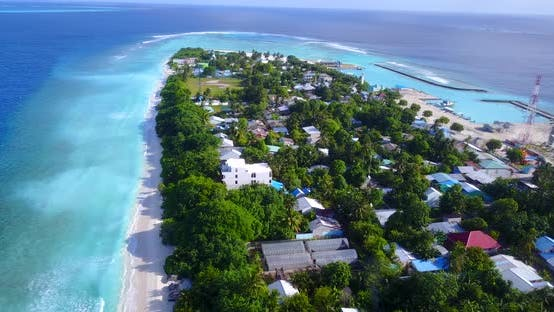 Thumbnail for Beautiful drone travel shot of a white sandy paradise beach and blue sea background in high resoluti