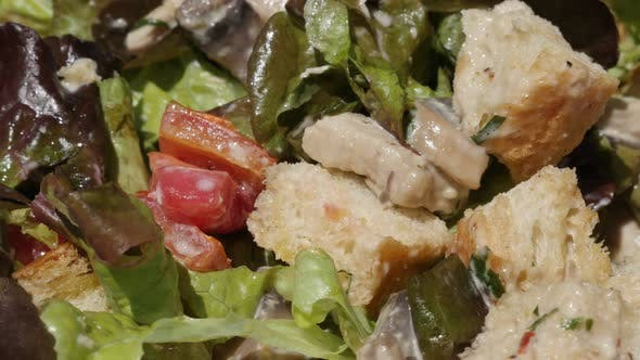 Thumbnail for Chicken  white meat  salad with vegetables close-up 4K 2160p 30fps UltraHD tilting footage - Slow ti