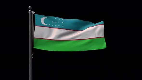 Uzbekistan Flag On Flagpole With Alpha Channel  4K
