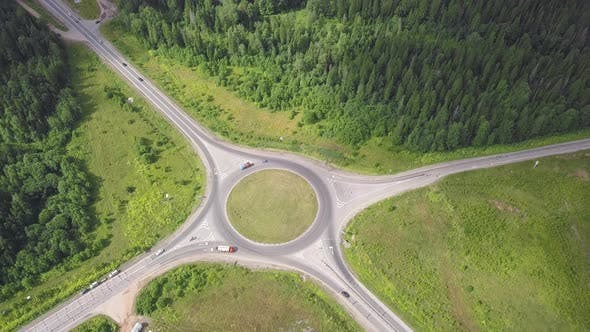 Thumbnail for Top View Of Rural Roundabout