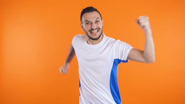 Victory, Happy and Goal Scream Emotions of Football Fan in Game Support
