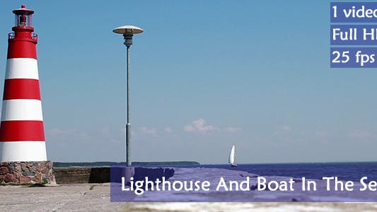 Cover Image for Lighthouse And A Boat In The Sea