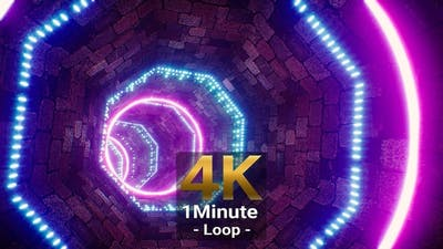 Cyberpunk Stone Brick VJ Tunnel 4K