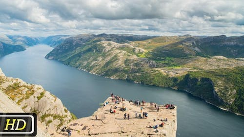 Tourists on Pulpit Rock in Norway
