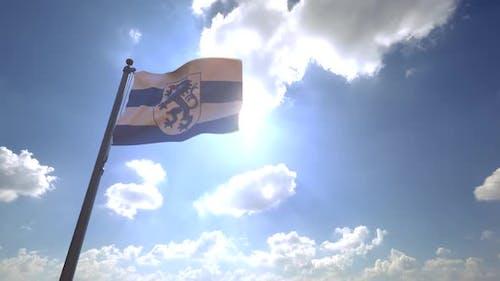 Ingolstadt City Flag (Germany) on a Flagpole V4