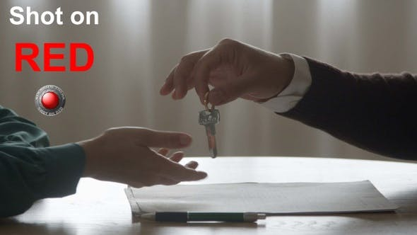 Thumbnail for Signing Contract with Real Estate Agent Giving Keys Buying Renting Apartment House Handshake