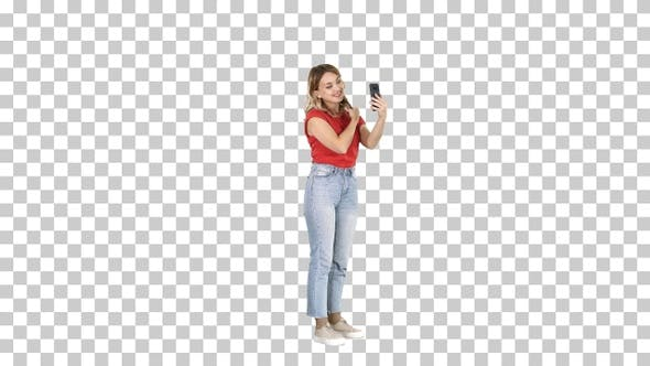 Thumbnail for Blonde woman preening in front of the smartphone, Alpha Channel