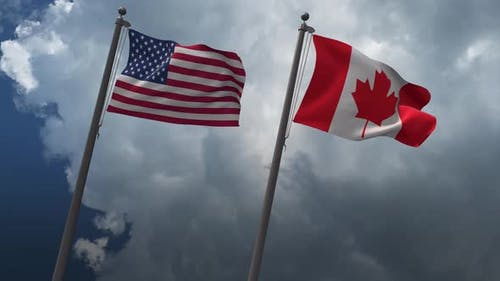 Waving Flags Of The United States And The Canada 4K