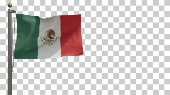 Mexico Flag / Mexican Flag on Flagpole with Alpha Channel - 4K