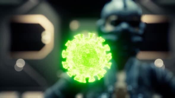 Frau in medizinischer Schutzmaske auf ihrem Gesicht betrachtet COVID19 Coronavirus