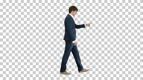 Businessman walking and explaining something, Alpha Channel