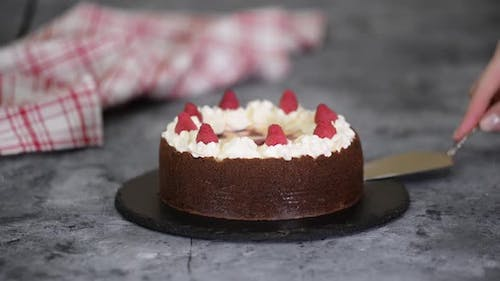 Delicious homemade chocolate cheesecake with raspberries and whipped cream.