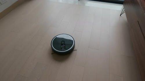 Robot vacuum cleaner cleans the floor