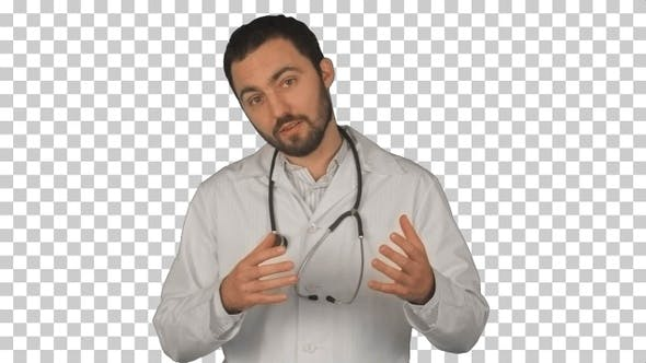 Thumbnail for Young male doctor gesturing and looking, Alpha Channel
