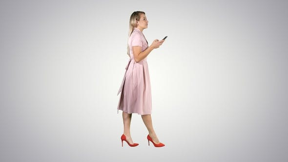Thumbnail for Pretty Blonde Woman Using Cell Phone Texting Message On
