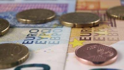 Cash euro banknotes and coins. European money
