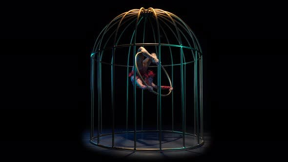 Thumbnail for Aerial Acrobatics on a Spinning Hoop in a Cage, Black Background