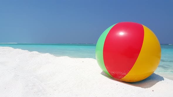 Thumbnail for Natural fly over tourism shot of a sandy white paradise beach and blue water background in vibrant 4