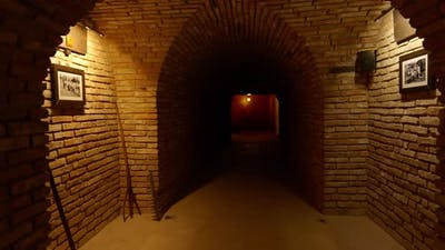 The Camera Moves Along the Corridor of the Stone Dungeon