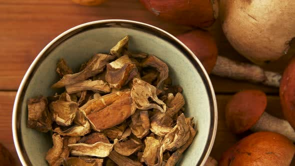 Thumbnail for Dried Mushrooms in Bowl on Wooden Background 3